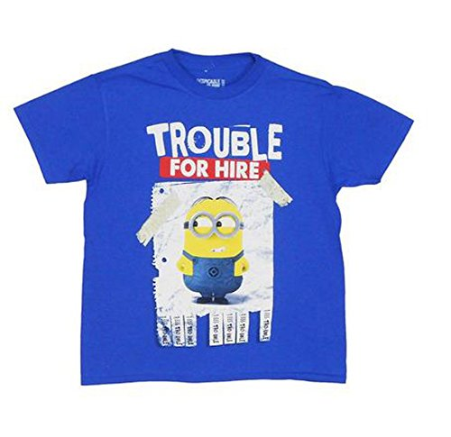 Despicable Me Trouble For Hire Youth Blue T Shirt  Size Small