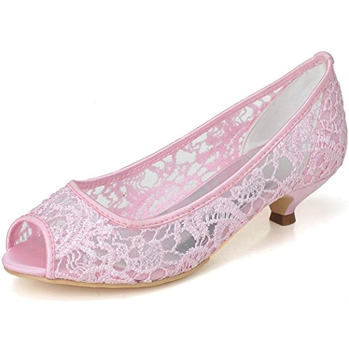 Wedding 06A Open Toe Heels ZXF0700 Women's Evening Pink Bridal Clearbridal Low Peep Prom for Lace Shoes SqRwnE1x61