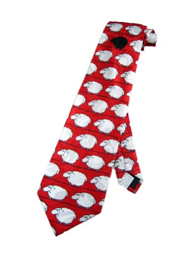 Fratello Mens Black Sheep Funny Necktie - Red - One Size Neck Tie - Funny Microfiber Necktie Tie
