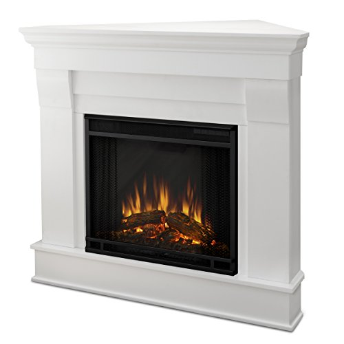 Real Flame 5950E Chateau Corner Electric Fireplace, Small, White (Corner Ventless Gel Fireplace)