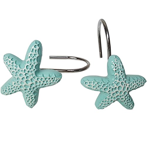 ZILucky 12Pcs Shower Curtain Hooks Rings Starfish Beach Theme Decor Hangers Home Bathroom Decorative