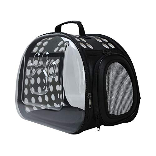 Saymequeen Foldable Pet Dog Outdoor Travel Carrier Purse Crossbody Portable Breathable Cat Bag Transparent Cat Carrier (L:42x28x32cm/16.5x11x12.5, Black)