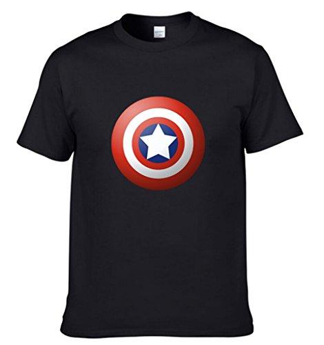 Easy Mens Summer Shield Pattern Fashion Solid Color Cotton Tee Shirt 2XL Black