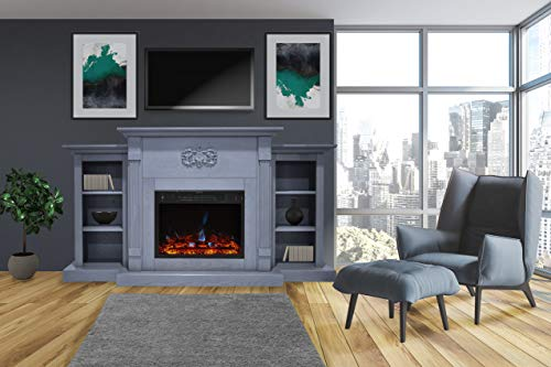 Cheap CAMBRIDGE Sanoma Electric Fireplace Heater with 72-in. Blue Mantel Bookshelves Enhanced Log Display Multi-Color Flames and Remote Slate Black Friday & Cyber Monday 2019