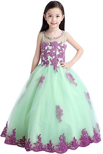Hanayome High Neck Flower Girl Wedding Dresses R83 Size 7 Purple&Green