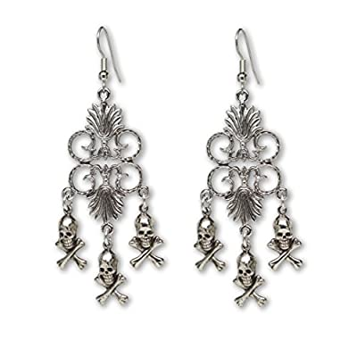 Discount Gothic Skull and Crossbones Medieval Renaissance Chandelier Earrings for sale