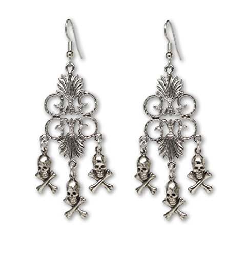 Gothic Skull and Crossbones Medieval Renaissance Chandelier Earrings Skull Crossbones Dangle