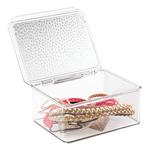 iDesign Rain Plastic Vanity Organizer Box with Lid, Cosmetic Storage Container for Vanity, Bathroom, Kitchen Cabinets, BPA-Free, 5.75 x 6.75 x 3 - Clear
