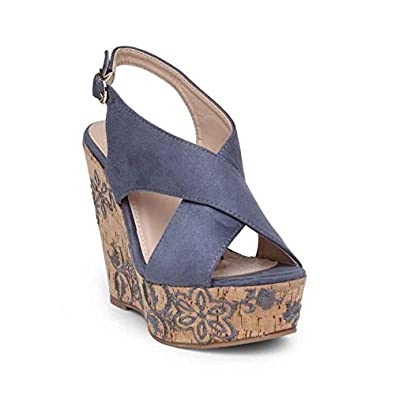 0868dd9c5b7 Flat n Heels Womens Blue Wedge FnH 1010-1-BLU  Buy Online at Low Prices in  India - Amazon.in