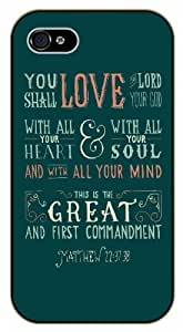 You shall love the Lord, your God; with all your heart - First Commandment - Matthew 22:37 - Vintage- Bible verse iPhone 5 / 5s black plastic case / Christian Verses by ruishername