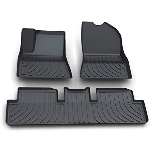Aiqiying All Weather Floor Mats for 2017, 2018, 2019,2020 Tesla Model 3,Heavy-Duty TPE Rubber Material Front & Rear 2 Rows Floor Liner Full Set Custom Fit for SUV