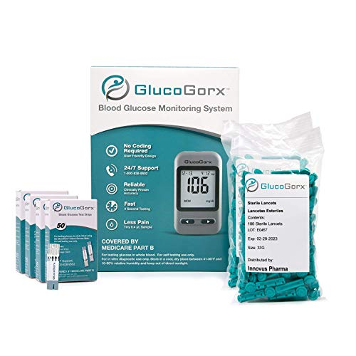 Blood Glucose Diabetes Testing Kit by GlucoGorx – Includes 210 Blood Test Strips, 225 Sterile Lancets, Glucometer, Depth Controlled Lancing Device, Control Solution and User Manual with Carrying Case