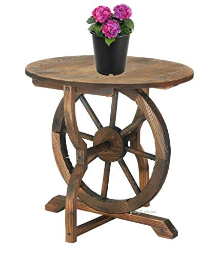 Sayagold New Indoor Outdoor Rustic Wagon Wheel Side Accent Table Wood and Iron 20