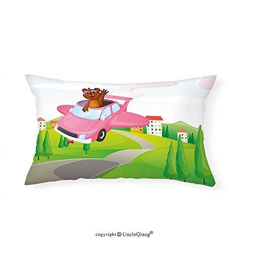 VROSELV Custom pillowcasesCartoon Illustration of Funny Otter in Car on the Road Flying Green Land with Houses Hills for Bedroom Living Room Dorm Multicolor(12''x24'') by VROSELV
