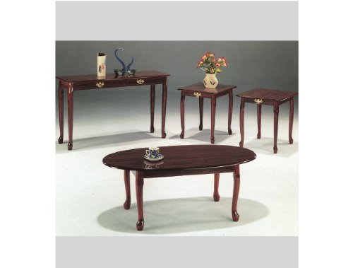 3-pc Queen Anne Cocktail Table in Cherry Finish ADS4005a-ch 3 Piece Set Tv Stand