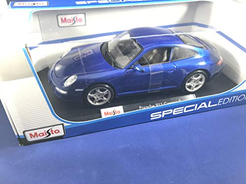 (Maisto Special Edition Series 1:18 Scale Die Cast Car Set - Navy Blue High Performance Sports Car PORSCHE 911 CARRERA S with Base (Dim: 9