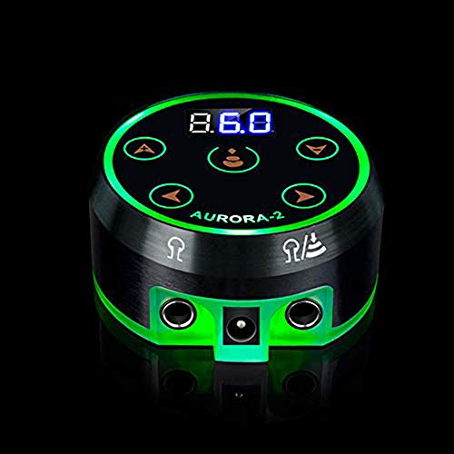 (Aurora Tattoo Power Supply,CINRA Professional Black Digital LCD Screen Dual Tattoo Power Supply Kit Intelligent Digital Dual LCD Rotary Tattoo Machine Power Supply Tattoo Supplies)