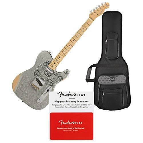(Fender Brad Paisley Road Worn Telecaster Electric Guitar Silver Sparkle w/Fende)