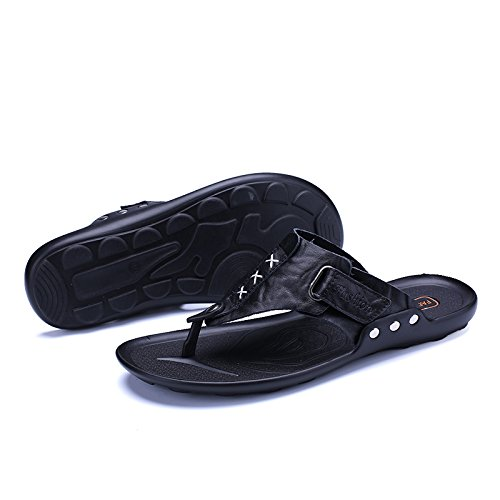 Charming Indoor Open Breathable Casual Relaxing Black Outdoor Flats Walkinng Slide Beach Backless Leather 078 Thongs Flip Mens Abby Comfy Flops Sandals Toe Leisure FUIPwqZ
