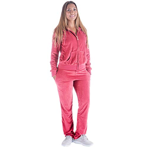 Women's 2 Pieces Soft Velvet Sweatsuits Set Zip-up Hoodie & Pants Tracksuits Outfits Casual Athletic Joggers Jog Set (3XL, Coral) ()