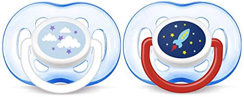 Philips AVENT Orthodontic Pacifier, Blue Rocket and Cloud, 1