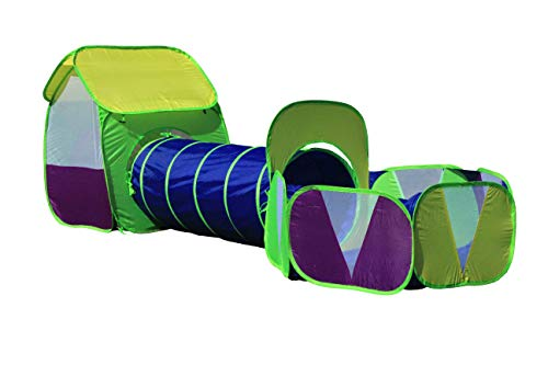 (G3Elite Kids Ball Pit Play Tent, Childs 3 Piece Pop Up Indoor/Outdoor Foldable Fun Playhouse Set, Childrens 3 in 1: House, Tunnel and Ball Pit - in Carry/Storage Bag (1 Year Warranty) (Boys / Unisex))