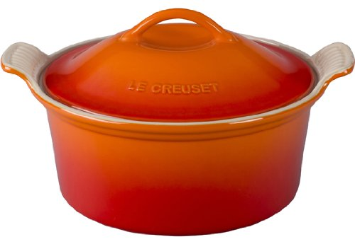 Orange Casserole (Le Creuset Stoneware Heritage Covered Round Casserole, 3-Quart, Flame)