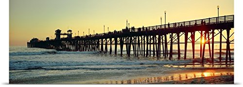 GREATBIGCANVAS Entitled Pier in The Ocean at Sunset Oceanside San Diego County California Poster Print, 60