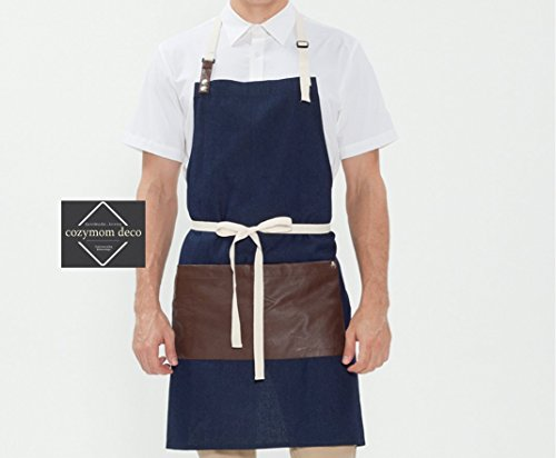 Cozymom Gift for Woman and Man Chef Works Handmade Apron Japanese Cross Back artificial leather Cotton- 4 colors (Blue Denim)