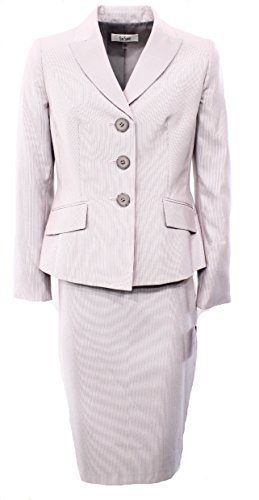 [Le Suit Women's Pinstriped Three-Button Skirt Suit Set Pink 4] (Pinstriped Skirt Suit)