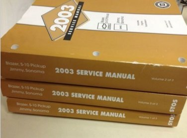 2003 GM CHEVY S-10 S10 Blazer Jimmy Sonoma Service Shop Workshop Manual Set OEM