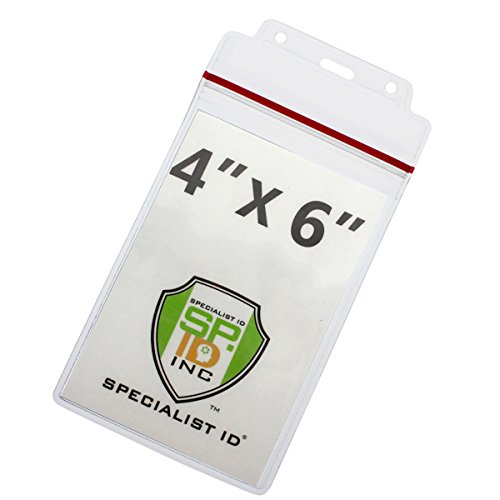 Extra Large Water Resistant 4X6 Badge Holder - Heavy Duty wi