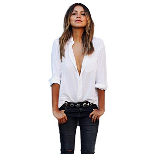 Kangma Women Sexy Long Sleeve Loose Size Pocket V-Neck Button-Down Shirt Tops Blouse ()