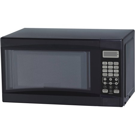 Mainstays 0.7 cu ft Microwave Oven, Black, Time Cook, Time Defrost, Weight Defrost, LED Display, Kitchen Timer