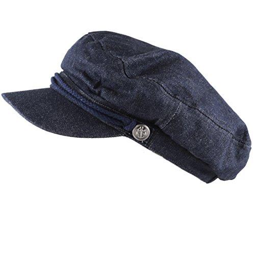 e0832861 THE HAT DEPOT Black Horn Unisex Cotton Greek Fisherman's Sailor Fiddler Hat  Cap