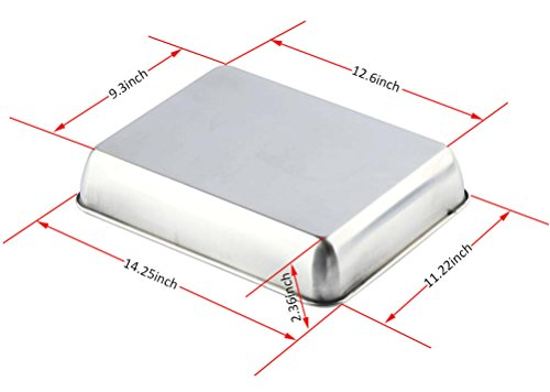 Sheet Pan,Cookie Sheet,Hotel Pan,Heavy Duty Stainless Steel Baking Pans,Toaster Oven Pan,Jelly Roll Pan,Barbeque Grill Pan,Deep Edge,Superior Mirror Finish, Dishwasher Safe By Meleg Otthon by meleg otthon (Image #1)