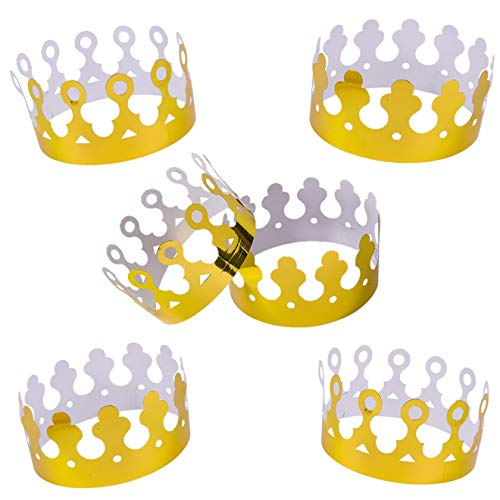 Playo Gold Foil Crowns - Pack of 12 Gold King Crowns - Perfect for King Costume accessories -