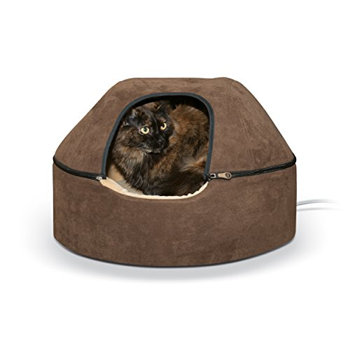 K&H Pet Products Thermo-Kitty Dome Bed Heated Pet Bed Large Chocolate 20