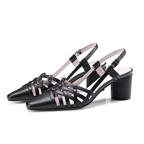 KPHY Sandalias de cruz hueca retro para talón medio de 5 cm, zapatos únicos de verano. black