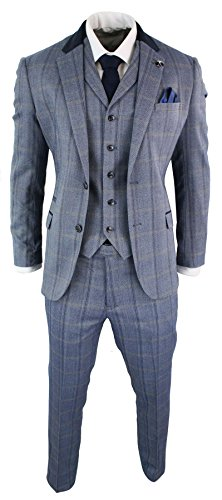 Cavani Mens Check Tweed 3 Piece Blue Navy Suit Vintage Retro Tailored Fit Prince Of Wales Blue 36 (Spandex Vintage Suit)