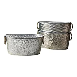 Oval Assorted Galvanized Tubs with Metal Handles - 1 Per Order