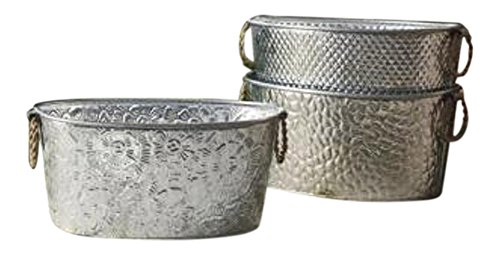Oval Assorted Galvanized Tubs with Metal Handles - 1 Per - Planter Metal Oval