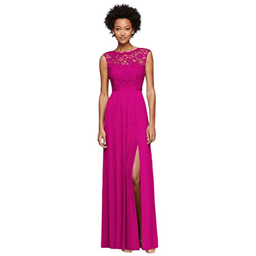 Lace Womens Bodice (Long Bridesmaid Dress With Lace Bodice Style F19328, Begonia, 22)