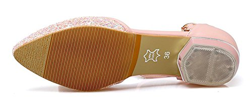 Easemax Womens Dressy Sequins Ankle Strap Low Heels Sandals Pink 0rjXL2