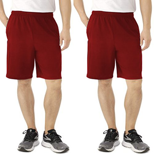 - Fruit of the Loom (2 Pack Tagless Mens Shorts, Athletic Shorts for Men, Gym Shorts, Running Shorts, Cotton Shorts, Casual Shorts for Men with Pockets and 9 Inch Inseam Red