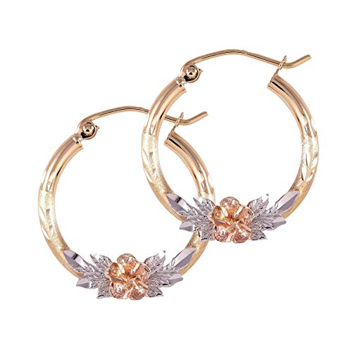 Balluccitoosi Tri Color Hoop Earrings - 14k Gold Earring for Women and Girls - Unique Jewelry for Everyday