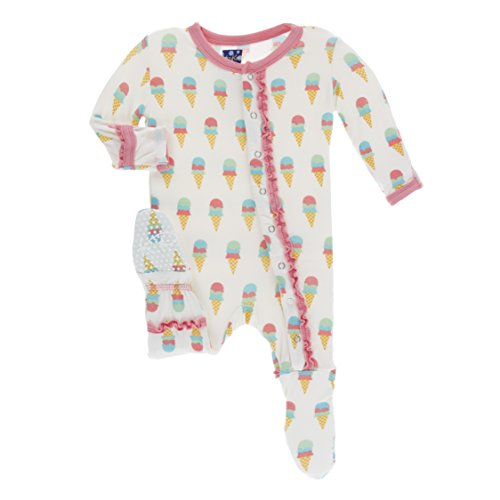 Kickee Pants Little Girls Print Muffin Ruffle Footie With Snaps - Natural Ice Cream, 3-6 Months