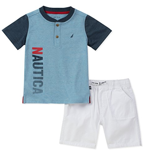 Nautica Baby Boys Henley Top with Shorts, Blue, 24M