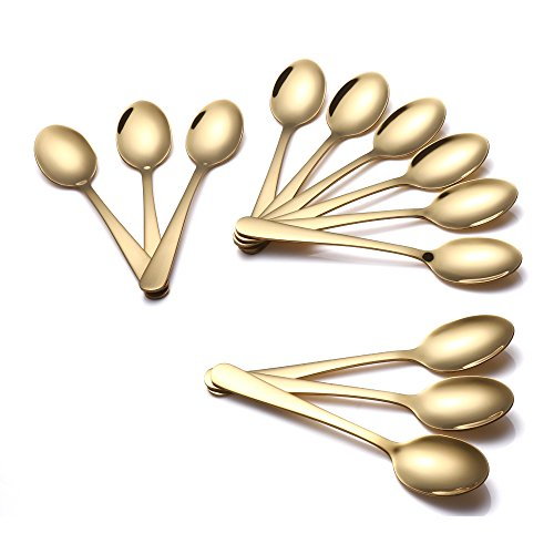 Buyer Star 12 Pcs Demitasse Espresso Spoons, Gold 5.5-Inch Teaspoon Stainless Steel Mini Sugar Coffee Spoon (Demitasse Tea Spoons)