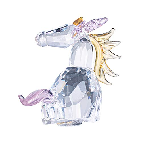 LONGWIN Crystal Unicorn Figurines Glass Home Decorative Ornaments Collectible for Kids